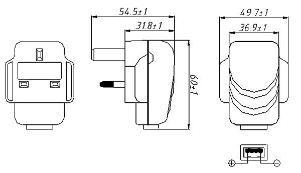 5v 1a usb ac power uk type plug